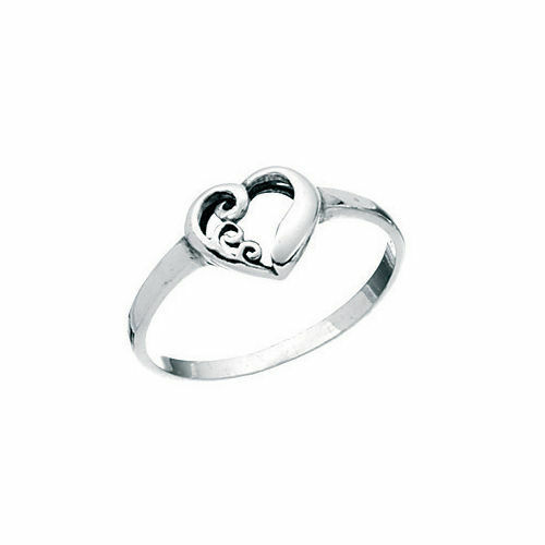 Sizes I - R 1//2 925 Sterling Silver Swirl Heart Ring