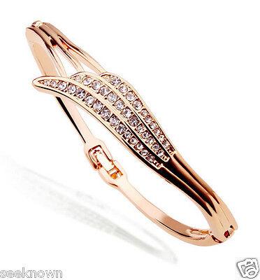 18K Rose Gold Plated Angel Wing Bangle Use SWAROVSKI CRYSTAL Women Bracelet Gift