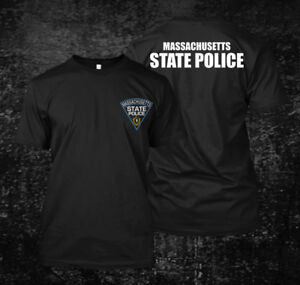 Massachusetts-police-State-logo-Custom-Men-039-s-T-Shirt-Tee