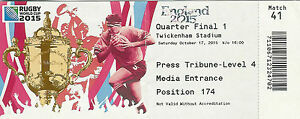 South Africa v Wales 17 Oct 2015 RUGBY WORLD CUP TICKET Quarter Final Twickenham - <span itemprop=availableAtOrFrom>UK based - ship next day, United Kingdom</span> - Returns accepted - Should the item prove to be faulty or wrongly advertised, please return within 30 days of receipt. Please send returns to Rugby Relics Ltd, 66 Brynhyfr - UK based - ship next day, United Kingdom