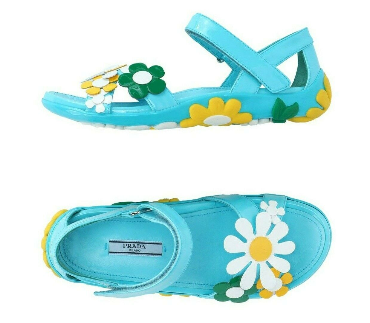 Prada pour femme Bleu Azur Azur Azur En Cuir Fleur Sandales Chaussures 39 9 NEW IN BOX 623cde