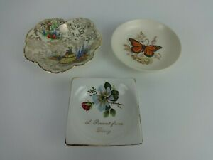 Vintage-Trinket-Dish-Mixed-Trio-Poole-Beswick-amp-Empire-Pottery-Floral-Butterfly