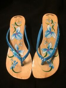 82d92bc46897 Woodies Hand Painted Aqua Floral Women s Sandals Shoes Kitten Heel ...