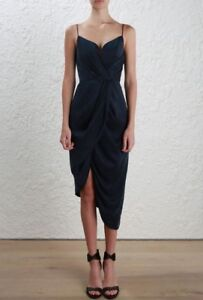 4046813064 Image is loading Zimmermann-Sueded-Silk-Plunge-Midi-Cocktail-Dress-Navy-