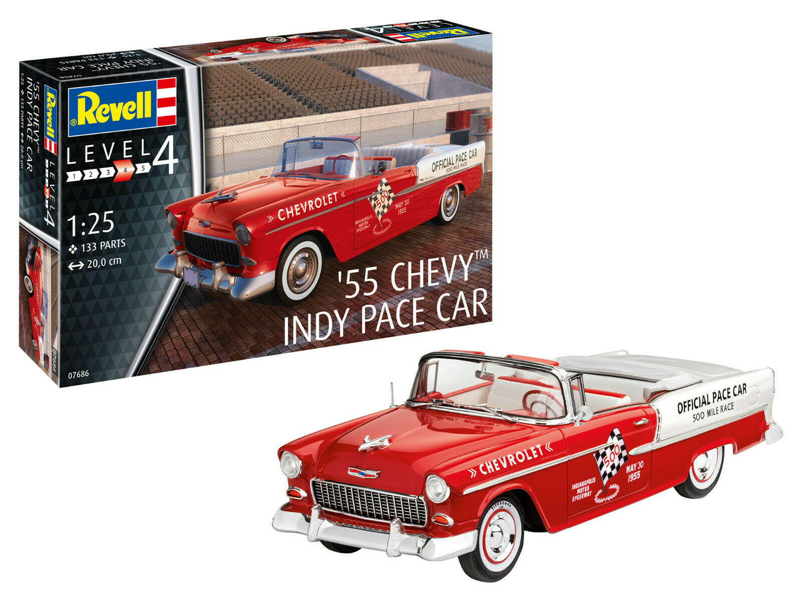'55 chevy indy pace car revell car model kit 1 25, art.07686