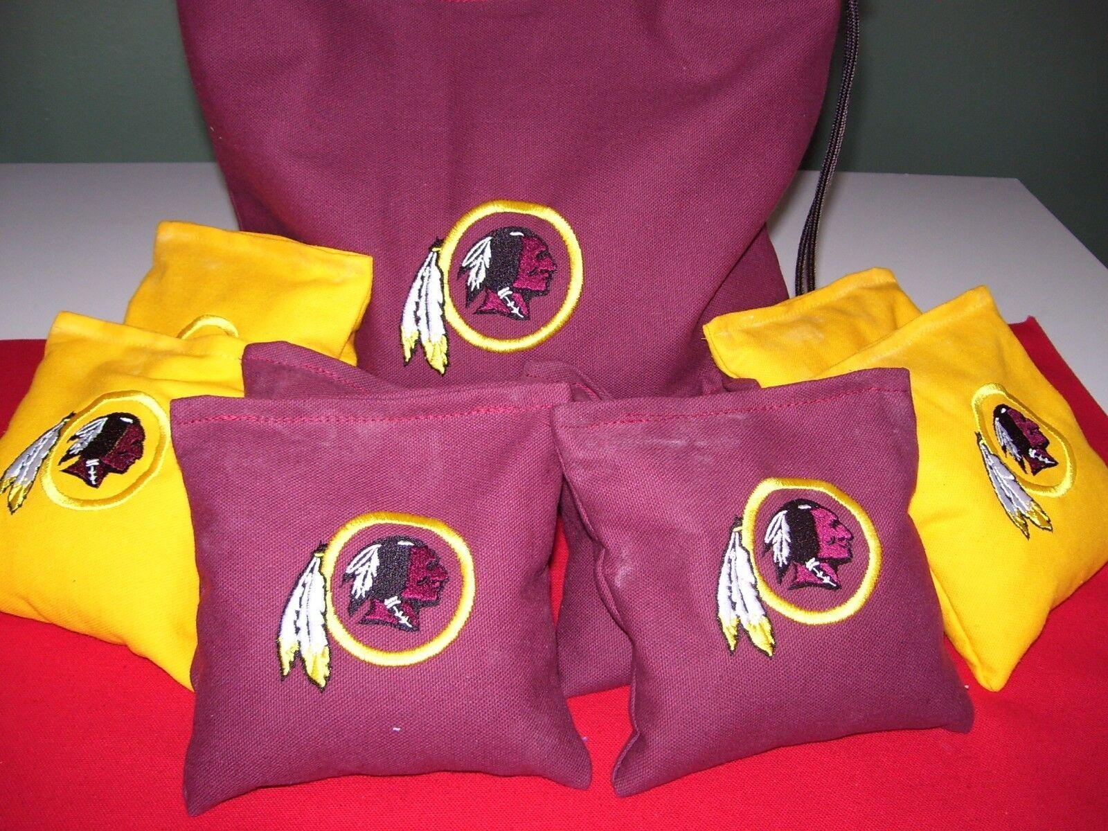 Washington Redskins Embroidered Cornhole Corn Hole Bags Set of 8 w Storage Bag