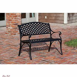 Cast Aluminum Bench Metal Garden Patio Furniture Accessories Outdoor Lawn Porch