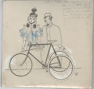 """au Salon Du Cycle"" Dessin De Presse Original 1896 Georges Conrad 23x22cm Bas Prix"