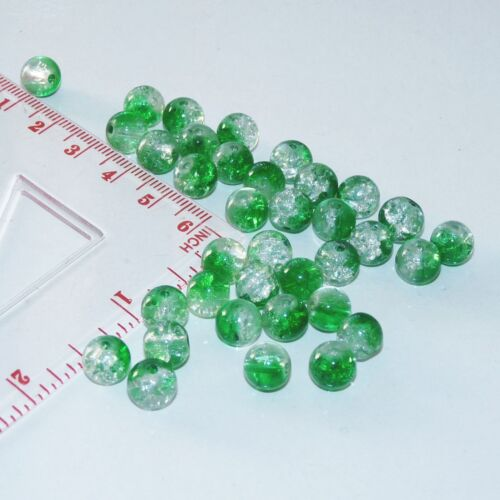 10x Green Crackle Glass Beads 8mm Cracked Marbles Craft Colored Beading Supplies