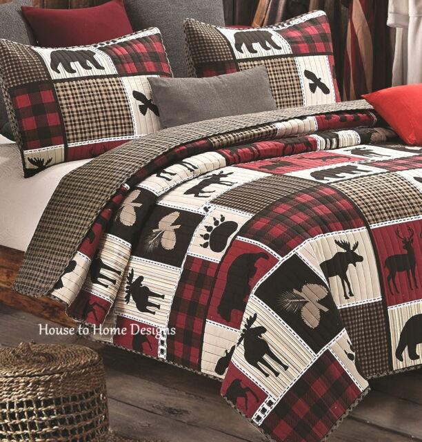Black Bear Paw Moose Cabin Red Buffal Virah Bella Lodge Life 3Pc King Quilt Set