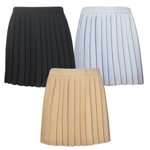 Ladies Womens Girls  Chiffon All Over Nieve Pleated Woven Casual Mini Skirt 8-14