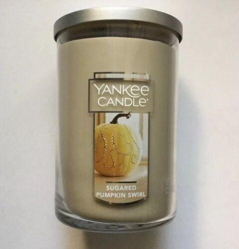 LARGE 2-WICK TUMBLER NEW HTF YANKEE CANDLE SUGARED PUMPKIN SWIRL 22 oz