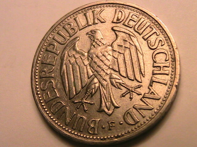 1959-F W GERMANY 1 Mark Ch XF/AU Lustrous Original One Mark German Deutsche Coin