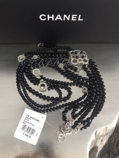 NWT CHANEL $3300 JEWEL 2016 BLACK PEARL SILVER MULTI 3-STRAND TRIPLE NECKLACE
