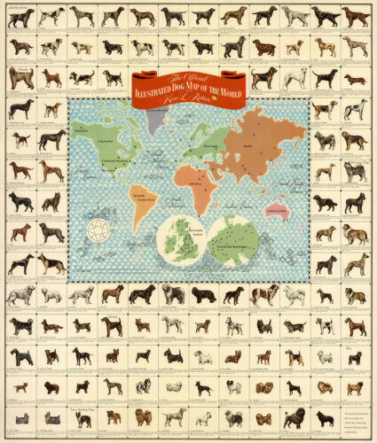 Mid-century Official Pictorial Dog Map of the World Vintage Art Poster Print