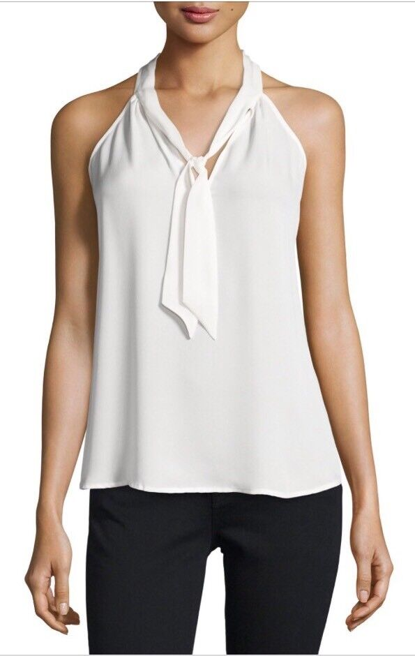 NWT Joie damen Melisent Sleeveless Tie-Neck Top 100% Silk XS