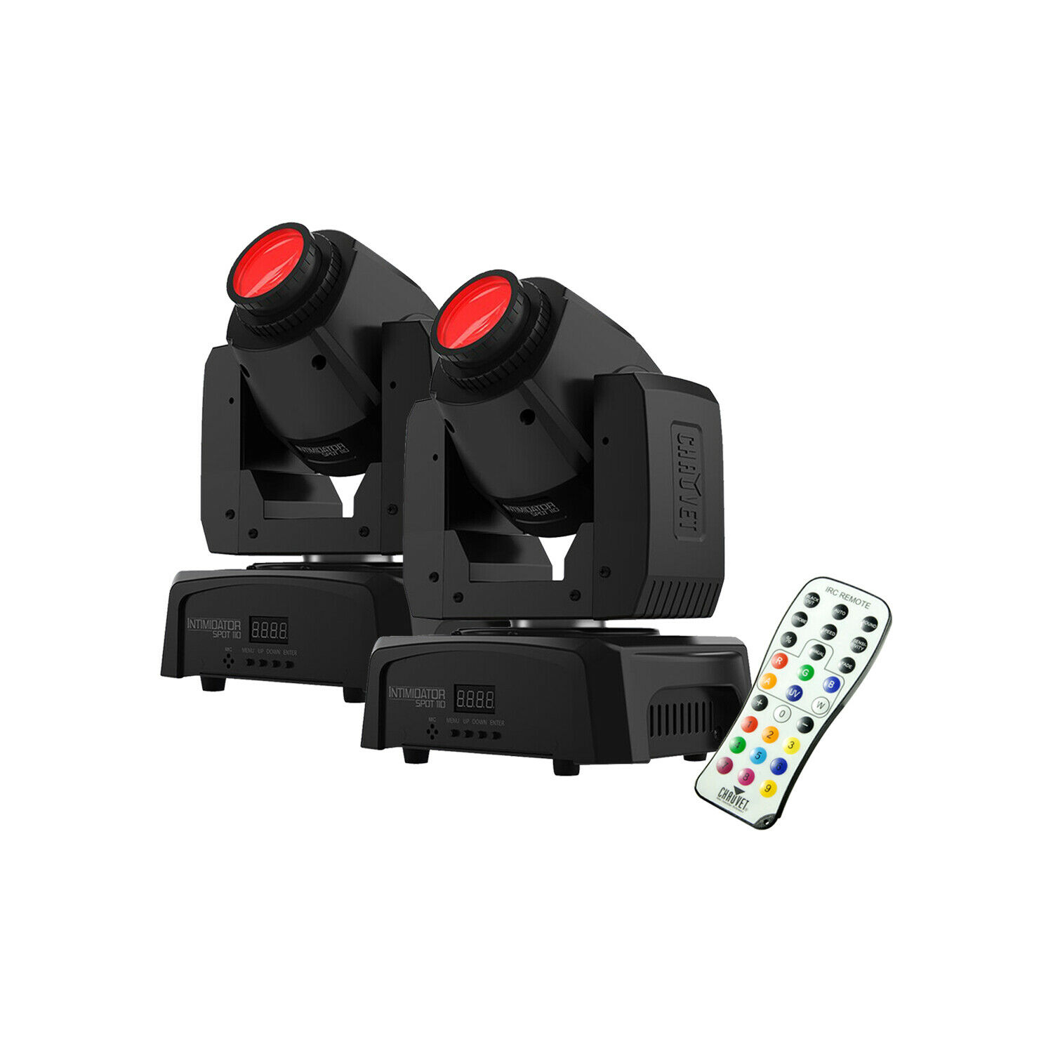 2)Chauvet Intimidator Spot 110 Lightweight LED Moving Head Light W IRC-6 Remote