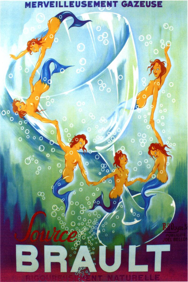 20x30  CANVAS Decor.Room art print.Brault gracious mermaids wine.5990