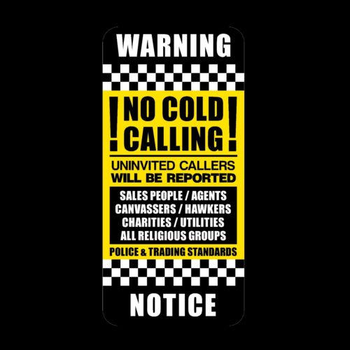 No Canvassers No Cold Callers Front Door Letter Box Sign