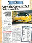 Chevrolet Corvette 2001 V8 1997 General Motors USA Car Auto Voiture FICHE FRANCE