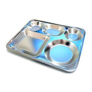 large 5 divided stainless steel food tray for adult diet food control tray new ebay. Black Bedroom Furniture Sets. Home Design Ideas