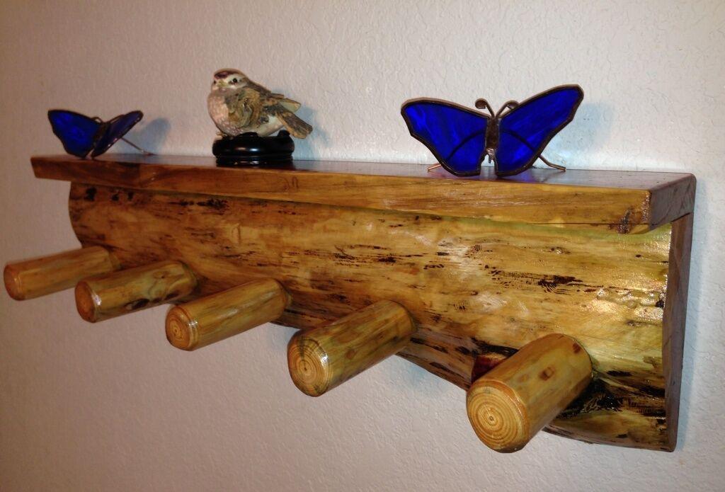 Rustique étagère porte-hommeteau Cabine Log meubles Bois Étagère étagère Lodge