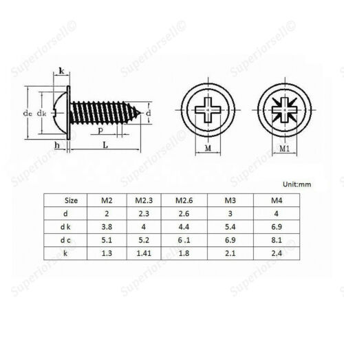 50Pcs M1.7* 4-10mm Phillips Pan Head Washer Self Tapping Screws kit Zinc Black
