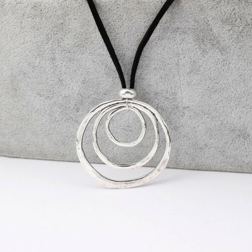 Large Abstract Metal Round Circle 3 Personalized Pendant Suede Leather Necklace