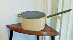 Vintage-Enamel-Saucepan-cream-with-Green-Edges-And-Handle-24cm-Diameter