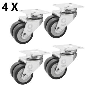 8 x Doppelrolle Rückenloch Rolle Transport Schwerlast Rollen Ø 75 mm Lenk-Brems