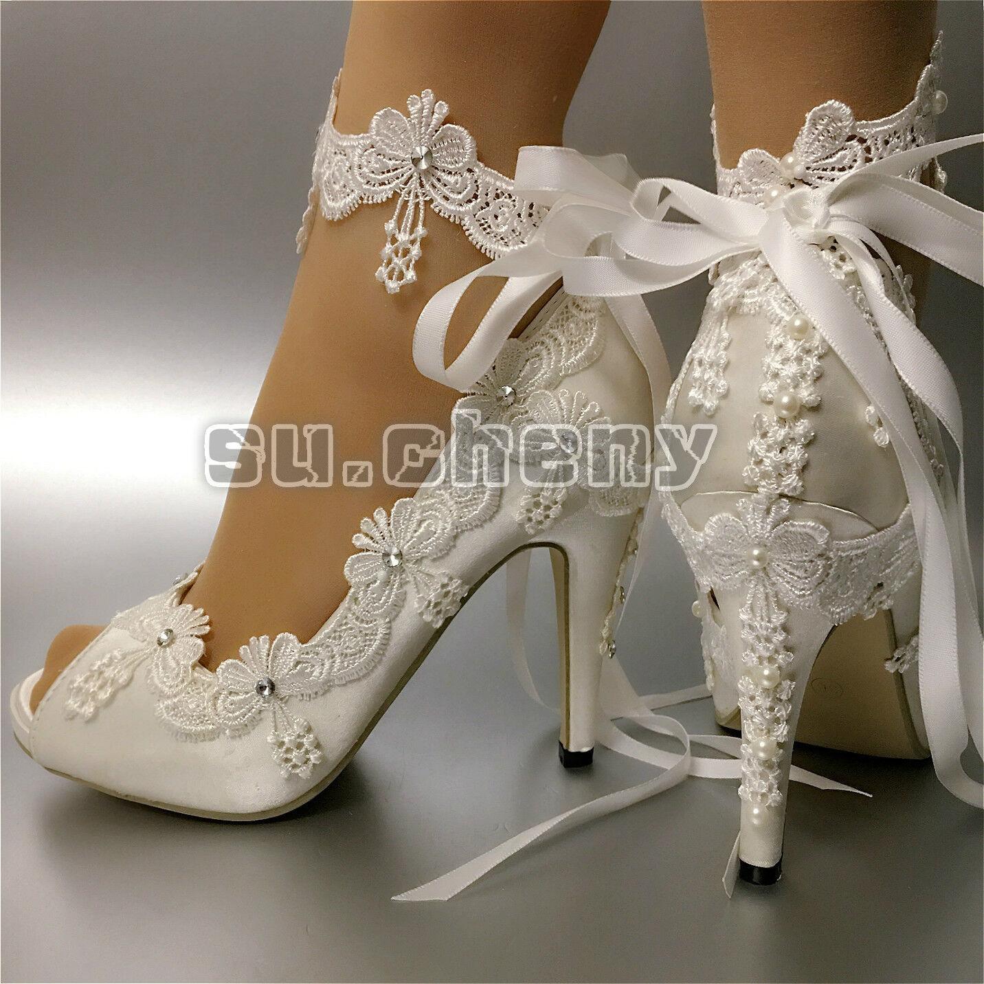 Su. Cheny cinta tobillera blancoo Marfil Satinado Tacón Puntera Puntera Puntera Abierta Boda Nupcial Zapatos Talla  clásico atemporal