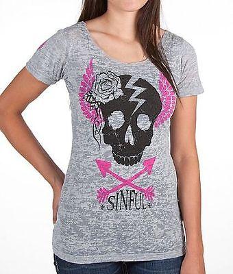 Sinful AFFLICTION Womens T-Shirt VY Skull Love Pink GREY Tattoo Biker UFC $58