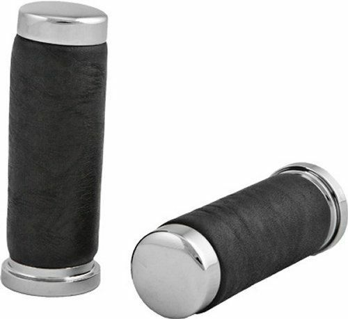 HardDrive Factory Style Leather Grips Chrome Black For Harley-Davidson 1974-2013