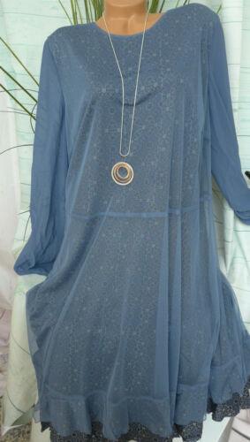 Sheego Robe Jersey Robe Femmes Taille 44 à 58 Bleu Argile Avec Dentelle 342 039