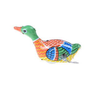 Retro-Vintage-Clockwork-Wind-Up-Metal-Swimming-Duck-Goose-Tin-Toys-BF