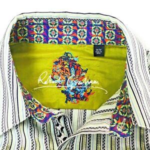 ROBERT-GRAHAM-Mens-Shirt-Sz-Medium-Stripes-Embroidered-Flip-Cuff-and-Collar-EUC