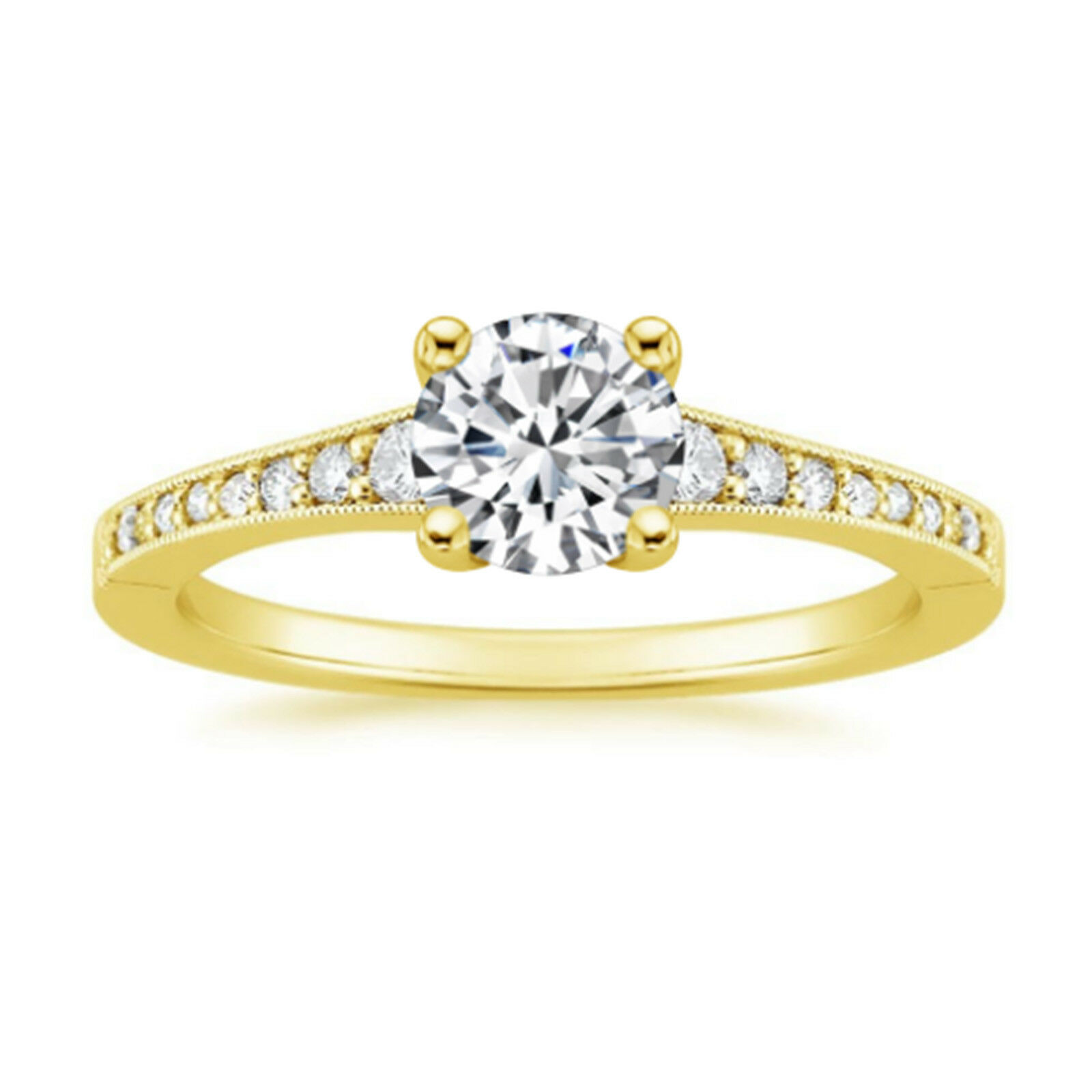 0.73 Ct Round Cut VVS1D Diamond Engagement 14K Yellow gold Rings Size 5.5 6 7 8