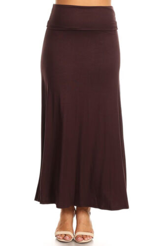 Women Plus Size Long Maxi Skirt Fold Over Waistband Made in USA