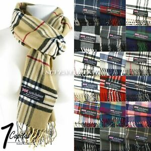 Mens-Womens-Winter-Warm-SCOTLAND-Made-100-CASHMERE-Scarf-Scarves-Plaid-Wool