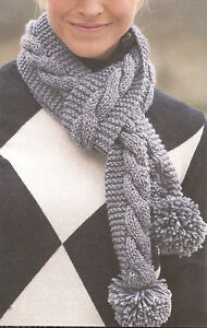 Chunky Wool Ladies Cable Scarf With Pom Poms 4 X 60 Easy Knitting