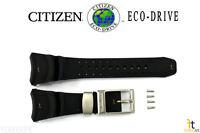Citizen Eco-drive Bj8044-01e Black Rubber Watch Band Strap W/ 4 Screws