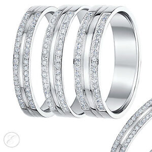 Image Is Loading 9ct White Gold Diamond Ring Double Row