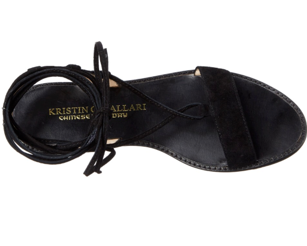 NIB Kristin Cavallari Chinese Laundry BELLE Kid Suede BLACK Sandales 7.5 M