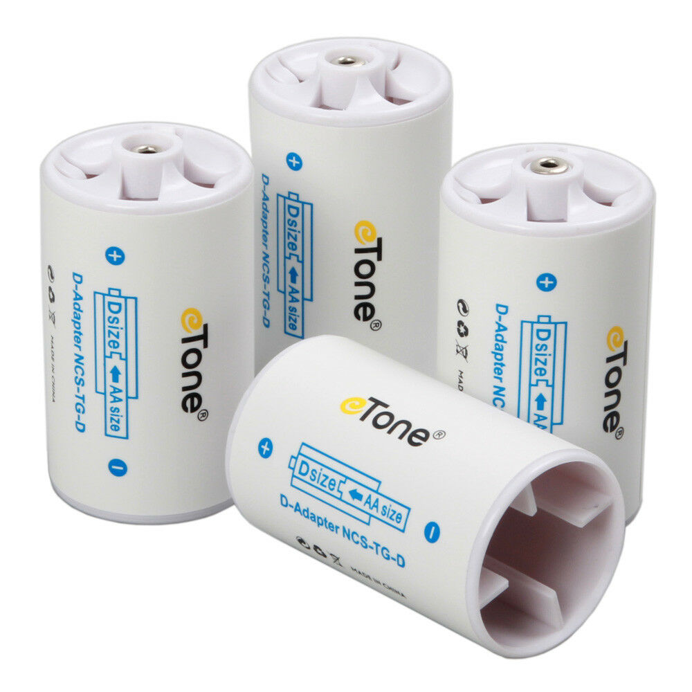 2 Pair Eneloop AA R6 to D R20 D Size Battery Adaptor Converter Spacer Case Box