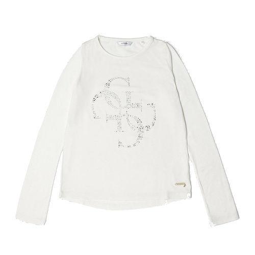 GUESS Mädchen Lagarmshirt mit Strass Logo J84I19K7P50 weiß Kinder T-Shirt NEU