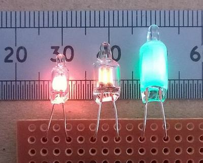 Qty 2 NEW Green glow  wire ended neon lamps  Nixie clock etc