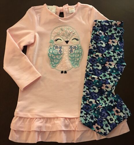 NWT Gymboree Girl Butterfly Garden Pink Owl Dress /&Floral Leggings Set 2T 3T