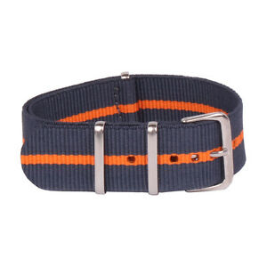 Deluxe Nylon Nato Watch Strap Black Two Stripes Grey