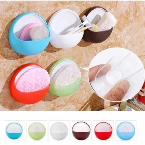 Vacuum Plastic Suction Cup Soap Dish Box Bathroom Round Holder Toilet Shower Lot
