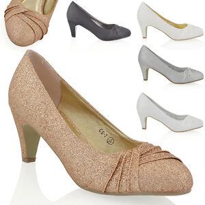 Womens Low Heel Satin Glitter Ladies Bridal Evening Party ...